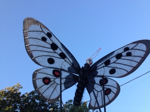 RiverSing was accompanied by large butterflies and other imaginative creations from Moonship Productions and the Puppeteers Cooperative. Here's one by daylight.