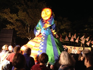 After the show, this puppet quickly filled with children.