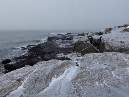 Waves pound the rocks at Sohier Park in York, Maine.
