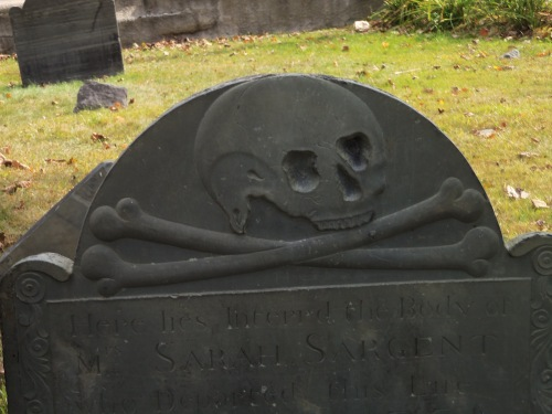 Old headstones in New England graveyards reflect an unflinching awareness of death. This one is in Portsmouth, New Hampshire.