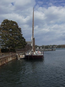 Once the workhorse of the Seacoast Region of New Hampshire and neighboring Maine, the gundalow was a shallow-draft sailing vessel that could carry goods to and from town to town. Its mast was hinged to allow it to drop so the boat could pass under bridges.