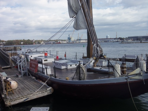 The flat-bottom Piscataqua, shown at its dock in Portsmouth's Prescott Park, carries passengers on tours of the harbor during the summer tourist season.