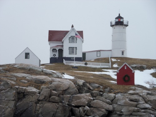 The Nubble is easily identified at sea by its red beam. The fog horn was booming when I shot this.