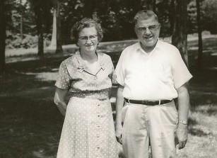 Grandma and Grandpa at family reunion & Aunt Irma Hodson
