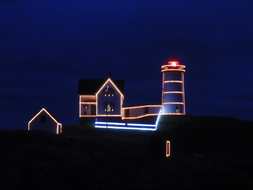The Nubble Point Lighthouse in York, Maine, is decked out for the holidays.