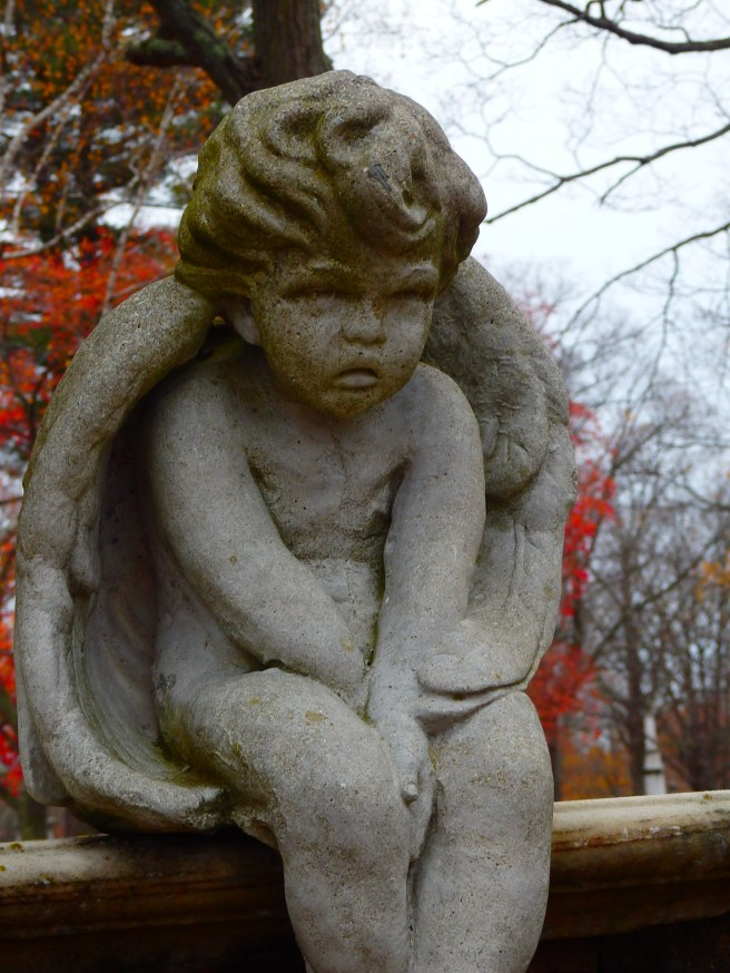 Stone angel in the city cemetery behind the Quaker meetinghouse.