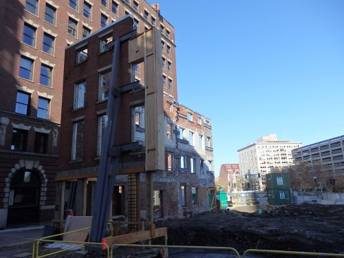 Preserving a touch of history in downtown Boston, while the rest of the building's been razed. Something similar just happened to the oldest residence in Maine.