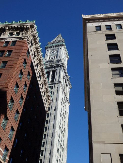 A popular landmark in downtown Boston is the Customs House tower, with its useful clock. Not all of the views are this crowded.