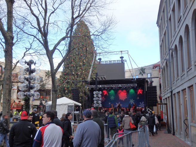 It's always an honor for our choir to perform a set for the lighting of the huge Christmas tree at Faneuil Hall in Boston. The 80-foot tree is an annual gift from Halifax, Nova Scotia, expressing gratitude for relief given its citizens after the 1917 harabor explosion that killed an estimated 2,000 people. The tree is adorned with 30,000 lights.