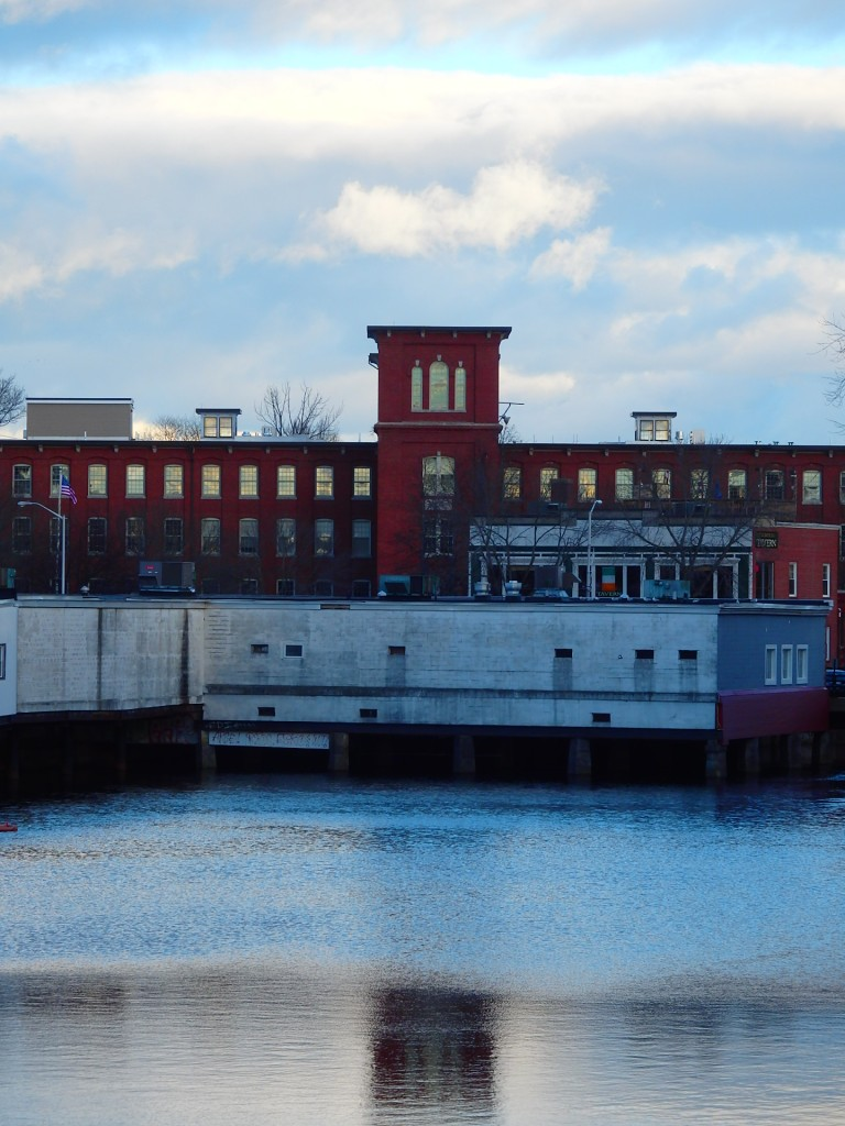 Right in the heart of downtown Dover, the mill. The retail store in the front sits out over the Cocheco River.
